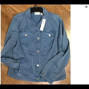 Chico's NWT Size Large Denim Tencel Jacket